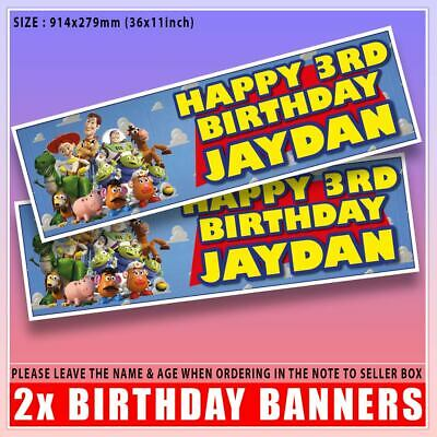 £3.99 • Buy 2 PERSONALISED TOY STORY BIRTHDAY BANNERS 3 Ft - 36  X 11  WOODY BUZZ