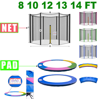 £27.95 • Buy 8 10 12 13 14 FT Trampoline Safety Net Enclosure And Spring Cover Padding Pads