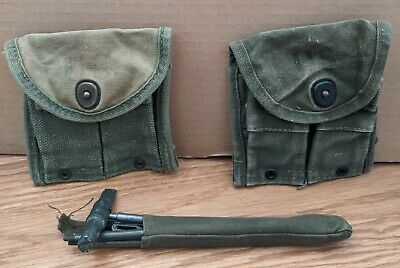 $39.99 • Buy US Military M1 Rifle Cleaning Kit, And Two Ammo Pouches