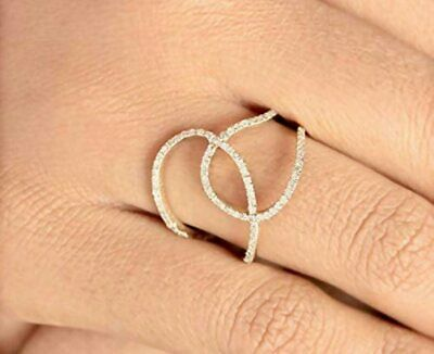 AU1545 • Buy 14k Gold Diamond Engagement Ring Natural Pave Diamond Double Rounded Circle Ring