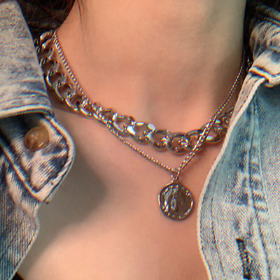 AU3.19 • Buy Coin Chain Neklace For Women Gold Silva Color Fashion Chain Neklace Jewelry