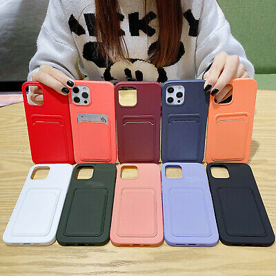 AU9.99 • Buy For IPhone 11 12 Pro Max XS XR 8 7p SE Soft Silicone Card Slot Pocket Case Cover