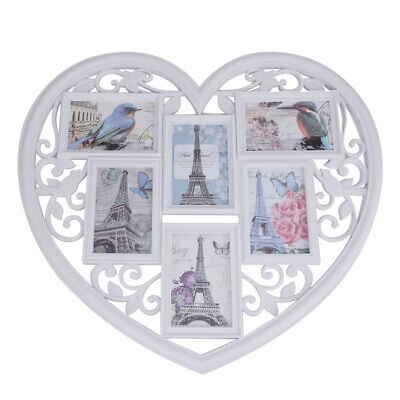 £12.99 • Buy Family Love Heart Aperture 6 Photo Picture Frame Holds 6'' Photos White Decor UK