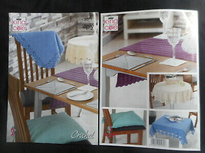 £2.95 • Buy KING COLE 5071 CROCHET PATTERN - 4 Ply - TABLE CLOTHS/MATS/RUNNER/COASTERS ETC.
