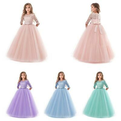 Sweet Lovely Children Kids Girls Elbow Sleeve Lace Fashion Tutu Prom Dress • 15.77£