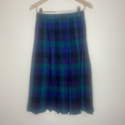 £15 • Buy Vintage David Brookes 100% Wool Pleated Checked Ladies Skirt Size 8 Made In USA