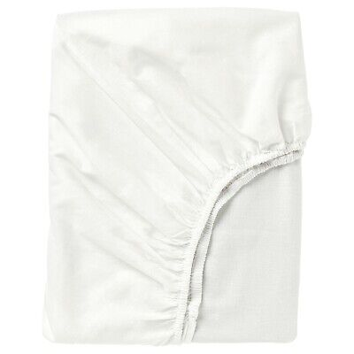 IKEA Fargmara Fitted Sheet 100% Cotton Durable Bedding White Various Sizes • 12.49£