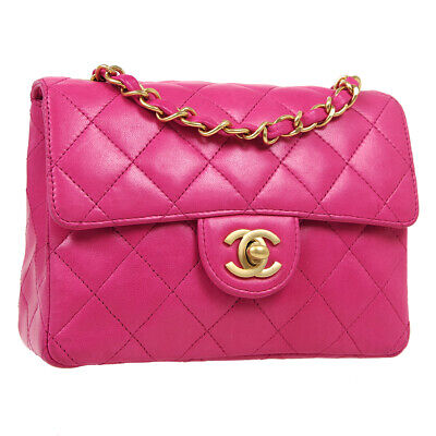 £5020.14 • Buy CHANEL Classic Flap Mini Square Chain Shoulder Bag 6216721 Pink Leather 41318