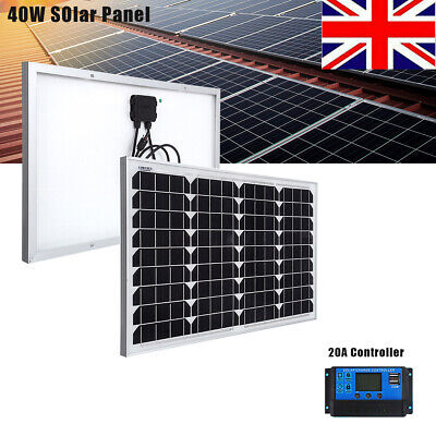 £39.99 • Buy 40W 12V USB Portable Solar Panel Battery Charger Kit Boat Car RV 20A Controller