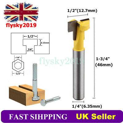 £3.89 • Buy T-Slot Cutter Router Bit 1/4'' Shank For 1/2  Hex Bolt Woodworking Keyhole Tool