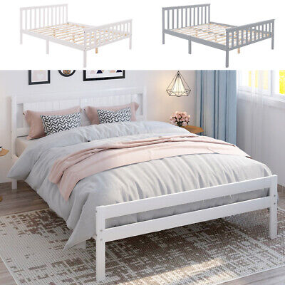 £85.95 • Buy Single/Double/King Size Bed Frame Solid Wooden Frame Bedstead Base Grey/White