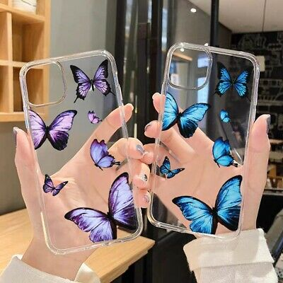 £3.95 • Buy Girls Butterfly Case For IPhone 11 12 Pro Max XR SE 7 8 6 Transparent Soft Cover