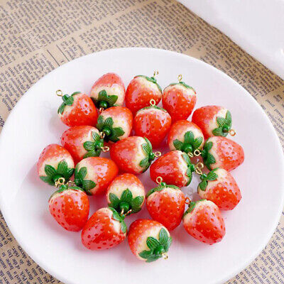 £4.67 • Buy 10Pcs 3D Red Strawberry Fruit Resin Charms Pendants DIY Jewelry Finding Craft