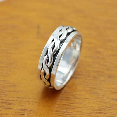 £17.45 • Buy Mens Womens Plain 925 Sterling Silver Celtic Spinning Worry Band Ring