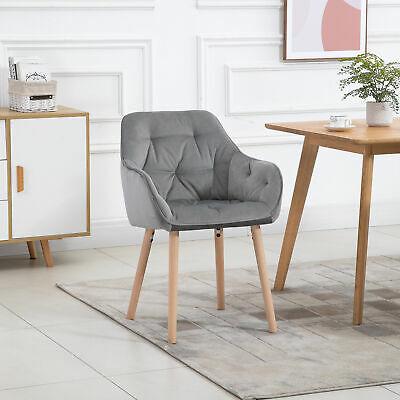 £64.99 • Buy HOMCOM Modern Tufted Dining Chairs Fabric Upholstered Leisure Chair