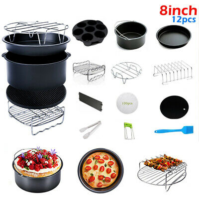 AU42.56 • Buy 8 Inch 12Pcs Air Fryer Accessories Fit For Gowise Phillips Cozyna Baking Basket