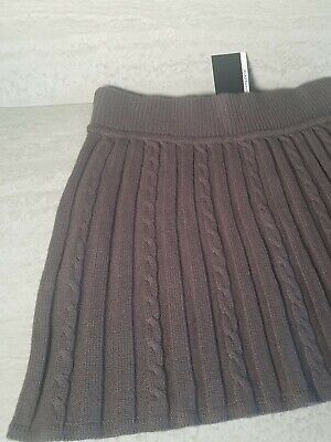 £9.99 • Buy Primark Atmosphere Grey Pull On Elasticated Waist Cable Knit Skirt Size 12 NEW