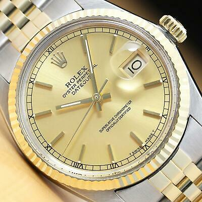 $ CDN7048.30 • Buy Authentic Mens Rolex Datejust Two Tone 18k Yellow Gold & Steel Watch 16013