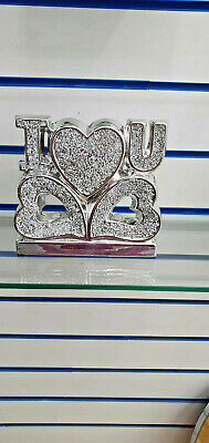 £21.99 • Buy Silver Crushed Diamond Sparkly, Home, Shelf Sitter With Heart Ornament, Bling  ✨