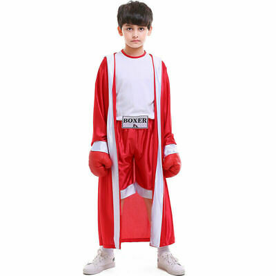 £19.88 • Buy RED Boys Kids World Boxing Costume Boxer Fighter Champion Fancy Dress Outfit