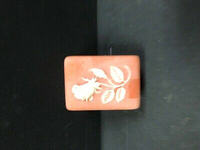 £5.66 • Buy Vintage Pink Incolay Stone Trinket/Jewelry Box Rectangle With Rose On Lid