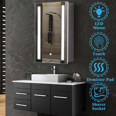 £134.99 • Buy Bathroom LED Mirror Cabinet With Shaver Socket Storage Wall Mounted 500x700mm