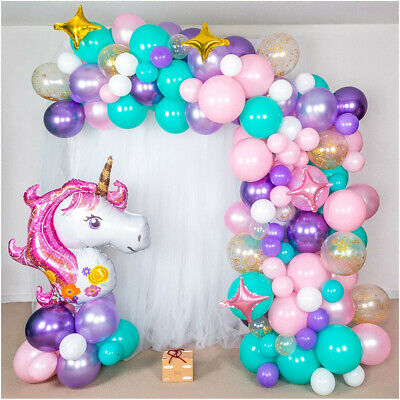 AU29.69 • Buy Unicorn Balloon Arch Kit Girls Birthday Gift Graduation Baby Shower Party Decor