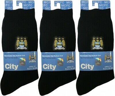 £5.99 • Buy 2 Pairs Men's Official Manchester City Crest Football Thermal Socks UK 6-11