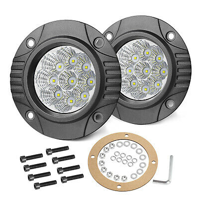 AU42.99 • Buy 2x 4Inch Flush Mount Round LED Pods Work Light Bar Spot Flood Driving Offroad 5