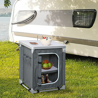 £37.99 • Buy Outsunny Outdoor 2-shelf Camping Cupboard Kitchen Station Cook Table Aluminum