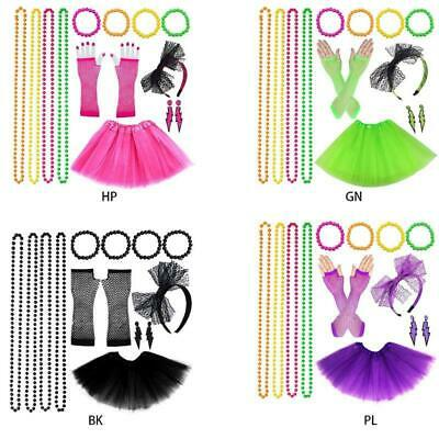 AU17.65 • Buy Women 80s Fancy Dress Accessories Retro Party Costume Set Adult Tutu Skirt Neon