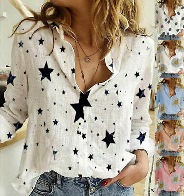 AU18.10 • Buy Womens Jumper Long Sleeve Linen Shirt Ladies Floral Buttons Casual Tops Blouse