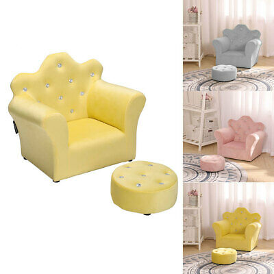 £45.95 • Buy Childs Velvet Fabric/PU Leather Armchair Childs Baby Sofa Footstool Seat Bedroom