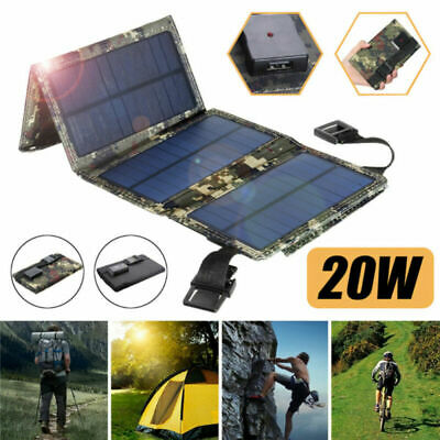 £18.99 • Buy 20W 18V Solar Folding Panel USB Phone Charger Traval For Camping Outdoor Hiking