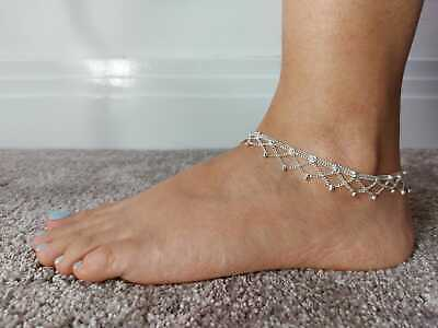 £4.99 • Buy Silver Indian Payal Ankle Foot Jewellery Gift Ethnic Fashion Bollywood