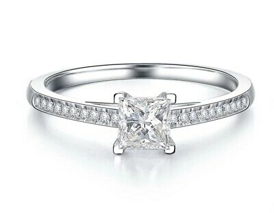 £35 • Buy Moissanite Diamond's 6mm Princess Cut 925 Sterling Silver Ring 14Ct Gold Plated