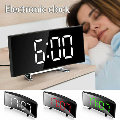 AU18.61 • Buy Large LED Digital Alarm Clock Battery Radio Mains USB/Battery Mirror Clock