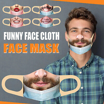 PM2.5 Mask(less) Bandit Prank Funny Face Mask Washable Mouth Cover For Men/Women • 2.99£