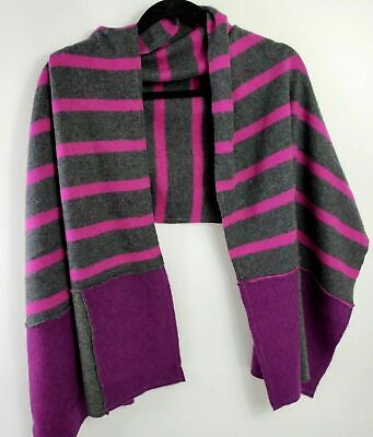 £19.99 • Buy # 100% Pure Cashmere Shawl Wrap Cape Recycled Handmade Grey Pink Purple Striped