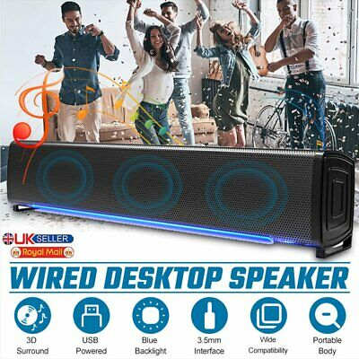£13.69 • Buy Surround Sound System LED PC Speakers Gaming Bass USB Wired For Desktop Computer