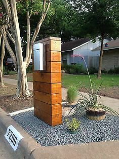 $249 • Buy Mailbox Stand Powder Coated Aluminum And Red Cedar. Mailbox On Front Side