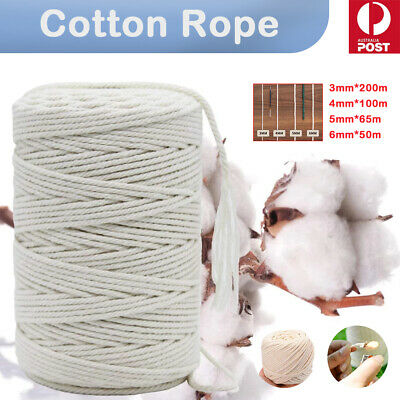 AU12.40 • Buy 3/4/5/6mm Macrame Rope Natural Beige Cotton Twisted Cord Artisan Hand Craft 1PCS