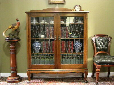 AU1200 • Buy FINE VINTAGE QUEENSLAND MAPLE + LEADLIGHT 2 DOOR BOOKCASE DISPLAY CABINET C1930s