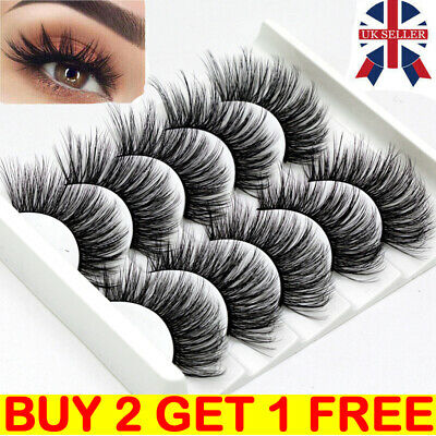 5Pair 3D Mink False Eyelashes Wispy Cross Long Thick Soft Fake Eye Lashes NEW UK • 2.59£