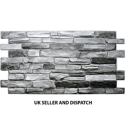 £15 • Buy PVC 3D Wall Panels Decorative Covering Tile Cladding Natural Grey Stone Effect