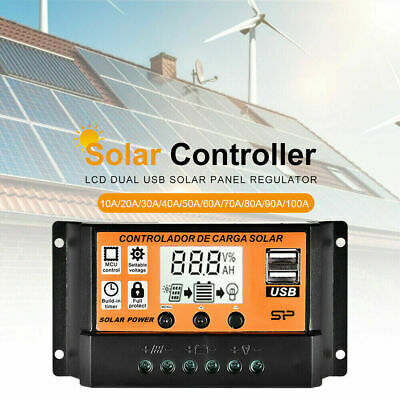 100A LCD MPPT/PWM Solar Panel Battery Regulator Charge Controller Dual USB UK~ • 10.46£