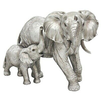 £17.90 • Buy Jungle Silver Standing Elephant  And Baby Leonardo Ornament  LP47187 Boxed