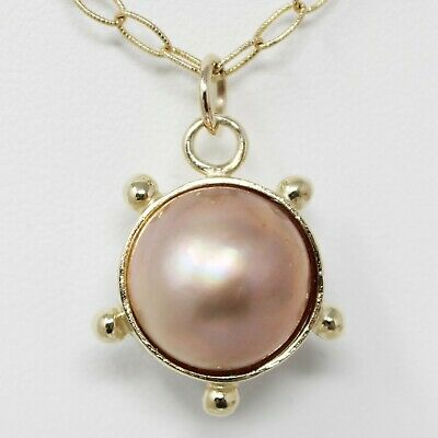 $401.40 • Buy 14k Yellow Gold Mabé Pearls Pendant Open Link Chain Choker Necklace 16.25  B0499