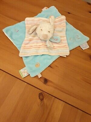 £9.99 • Buy Noukies Dog Comforter Blankie Soft Toy Soother Blue Striped.