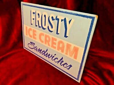 £34.95 • Buy Weird Hand Painted Ice Cream Cafe Vendor Advertisement Sign Signage Prop Art